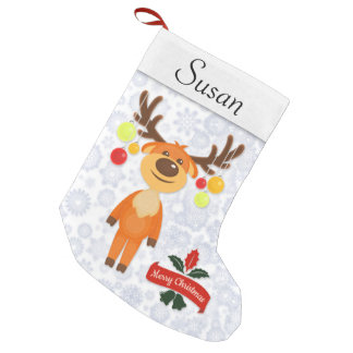 Goofy Reindeer Holly & Snow Personalized Stocking