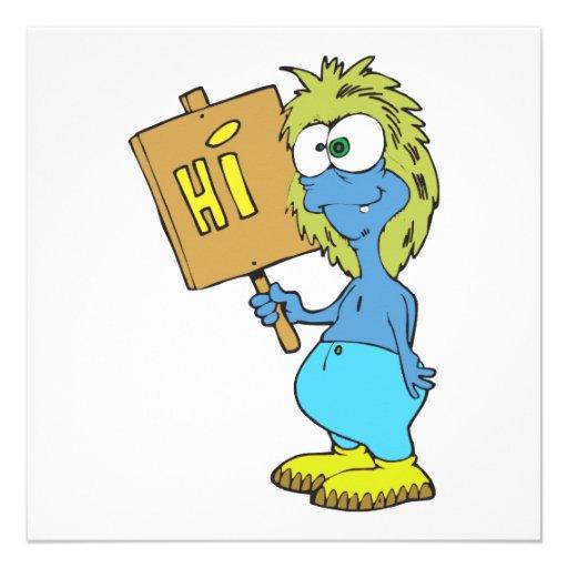 goofy silly monster saying hi custom invites