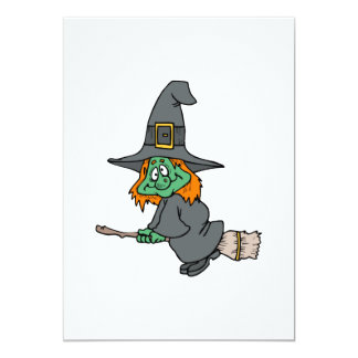 Goofy Silly Witch Flying Invite