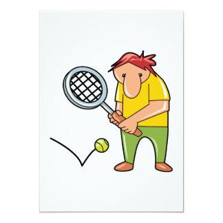 goofy tennis player cartoon graphic 13 cm x 18 cm invitation card