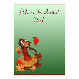 Goofy Thanksgiving turkey.  Happy Holidays.  in... 13 Cm X 18 Cm Invitation Card