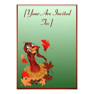 Goofy Thanksgiving turkey.  Happy Holidays. inv... 13 Cm X 18 Cm Invitation Card