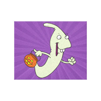 goofy trick or treat ghost cartoon stretched canvas print
