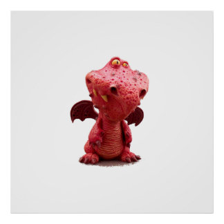 Goofy winged Red Dragon with crazy Smile Poster
