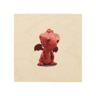 Goofy winged Red Dragon with crazy Smile Wood Print
