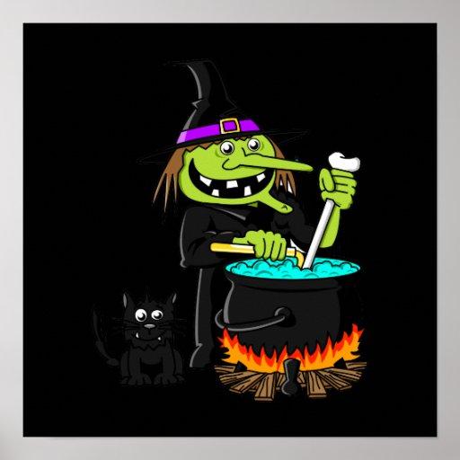 Goofy Witch Cauldron & Black Cat Poster