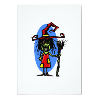 Goofy WItch with Broom Personalized Invitations