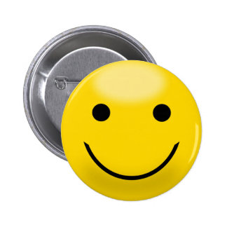 Goofy Yellow and Black Smiley Face 6 Cm Round Badge