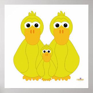 Goofy Yellow Ducks And Baby Poster