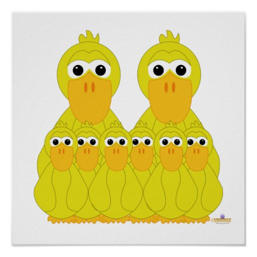 Goofy Yellow Ducks And Six Babies Posters