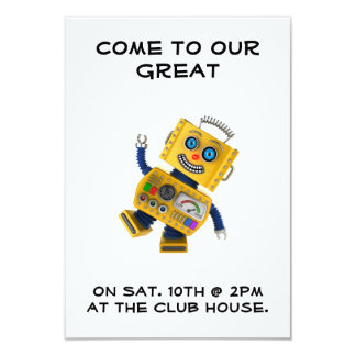 Goofy yellow toy robot 9 cm x 13 cm invitation card