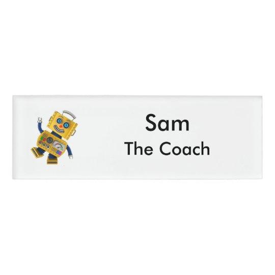 Goofy yellow toy robot name tag