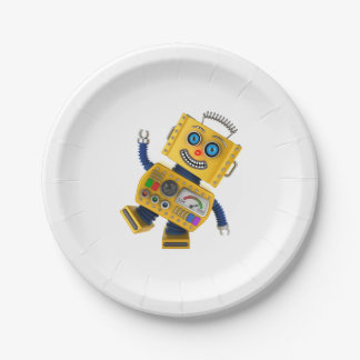 Goofy yellow toy robot paper plate
