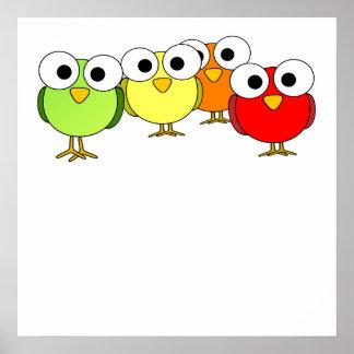 Googly Eyed Birds Print