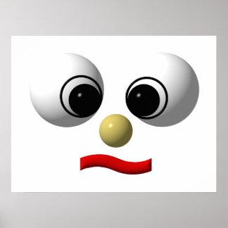 Googly-eyed face #1 print
