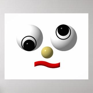 Googly-eyed face #4 print