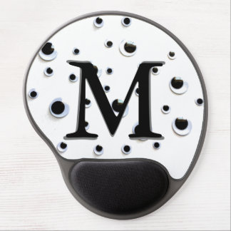 Googly Eyes Black and White Cute Monogram Gel Mouse Pad