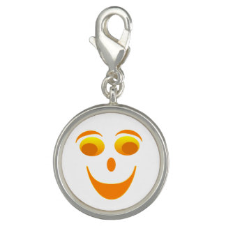 Googly Eyes Round Charm, Silver Plated