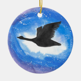 Goose In Flight Christmas Ornament