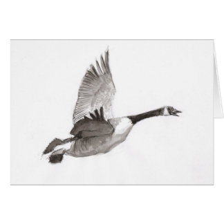 Goose in flight drawing card