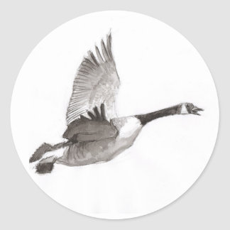 Goose in flight drawing classic round sticker