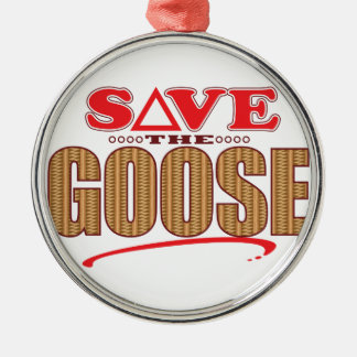 Goose Save Silver-Colored Round Decoration