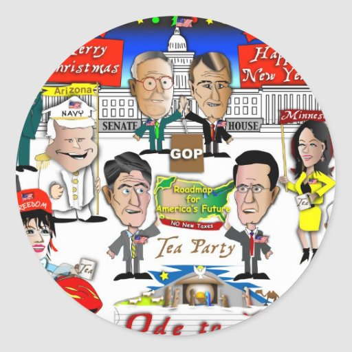 GOP Christmas Round Stickers