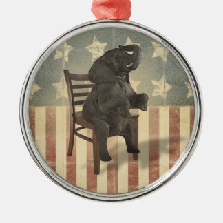 GOP Elephant Takes Over the Chair Funny Political Christmas Ornament