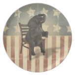 GOP Elephant Takes Over the Chair Funny Political Plate