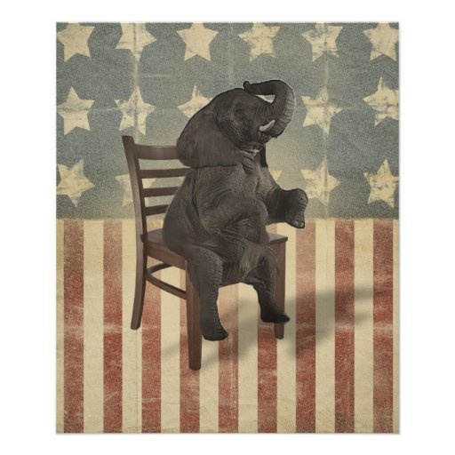 GOP Elephant Takes Over the Chair Funny Political Print