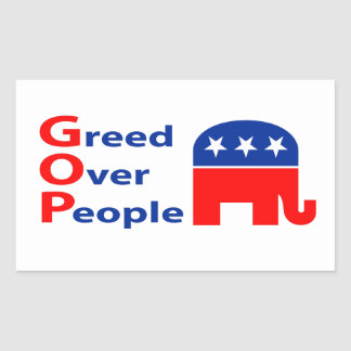GOP - Greed Over People Rectangular Sticker