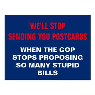 GOP Needs to Stop Proposing Stupid Bills Resist Postcard