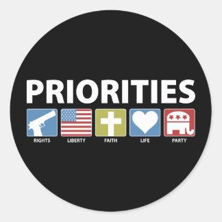 GOP Priorities Round Sticker