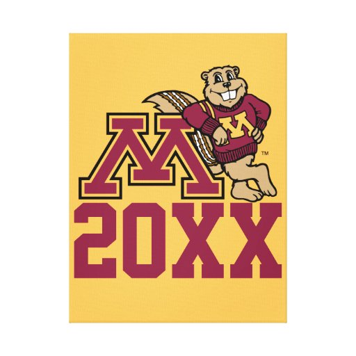 Gopher M Class Year Stretched Canvas Print