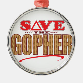 Gopher Save Silver-Colored Round Decoration