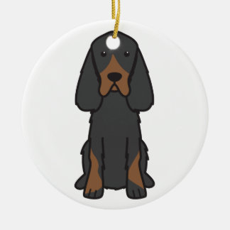 Gordon Setter Dog Cartoon Christmas Ornament
