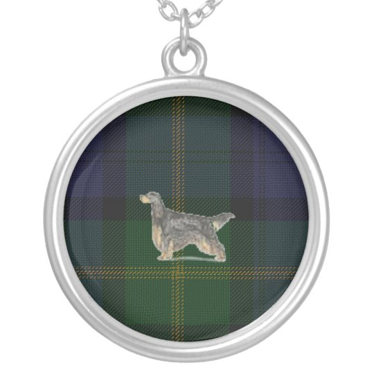 Gordon Setter on Old Ancient Tartan Necklace