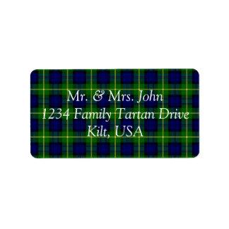 Gordon Tartan Label Address Label