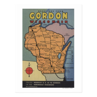 Gordon, Wisconsin - Large Letter Scenes Postcard