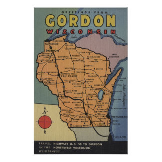 Gordon, Wisconsin - Large Letter Scenes Poster