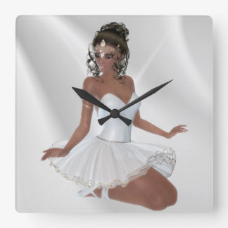 Gorgeous African American Ballerina Square Wall Clock