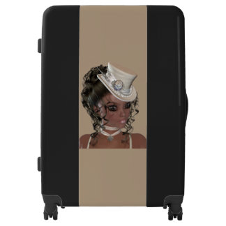 Gorgeous African American Woman Large Luggage