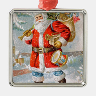 Gorgeous American Patriotic Christmas Santa Silver-Colored Square Decoration