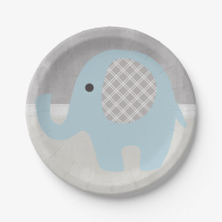 Gorgeous Baby Elephant in Blue Paper Plate