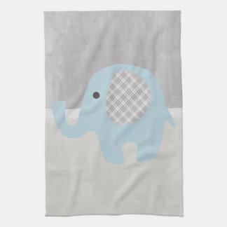 Gorgeous Baby Elephant in Blue Tea Towel