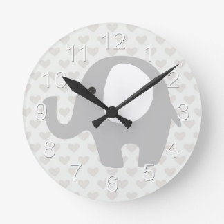 Gorgeous Baby Elephant in Neutral Gray Round Clock
