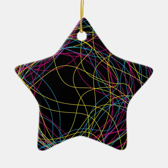 Gorgeous black ceramic star christmas ornament