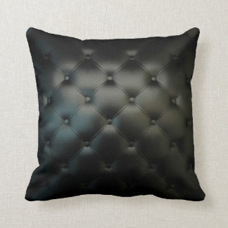 Gorgeous Black Leather Texture Throw Pillow