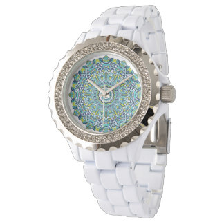 Gorgeous Blue Green Peace Mandala Watch