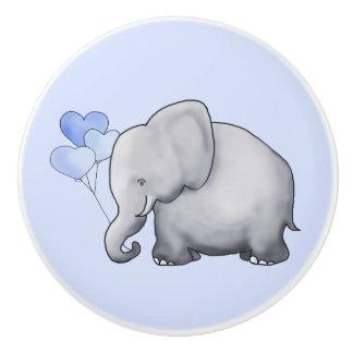 Gorgeous Blue Hearts Elephants Baby Boy Nursery Ceramic Knob